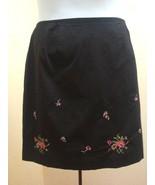 Venezia 18 Black Skirt Floral Cross Stitch Embroidered Lightweight Summe... - $19.57