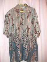 Hawaiian Luau Cruise Shirt Moda Campia Moda Blue and Tan Large - $13.99