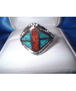 Turquoise & Coral Mens Ring - $20.00