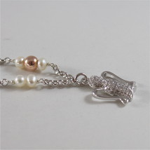 925 RODIUM SILVER BRACELET WITH WHITE FW PEARLS, CRYSTAL AND ANGEL MADE IN ITALY image 3