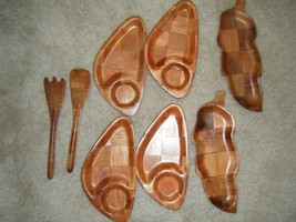 Vtg 60's Retro Kitsch Wood Tiki Tropical Bar Snack Plates Leaf Serving T... - $25.99