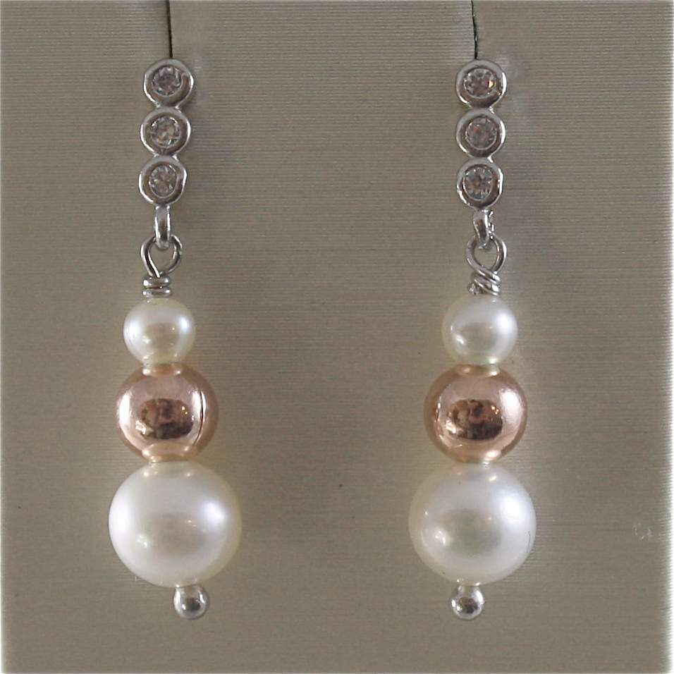 925 RODIUM SILVER EARRINGS WITH BALLS AND WHITE FRESHWATER PEARLS MADE IN ITALY