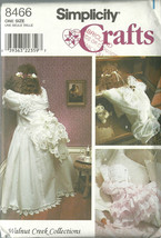Simplicity Sewing Pattern 8466 Time Out Bridal Doll Angel Baby Clothes Uncut - $9.98