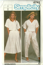 Simplicity Sewing Pattern 6742 Misses Womens Top Skirt Pants Size 8 Uncut - $9.98