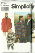 Simplicity Sewing Pattern 9714 Mens Misses Womens Unisex Jacket Coat XS ... - $9.98