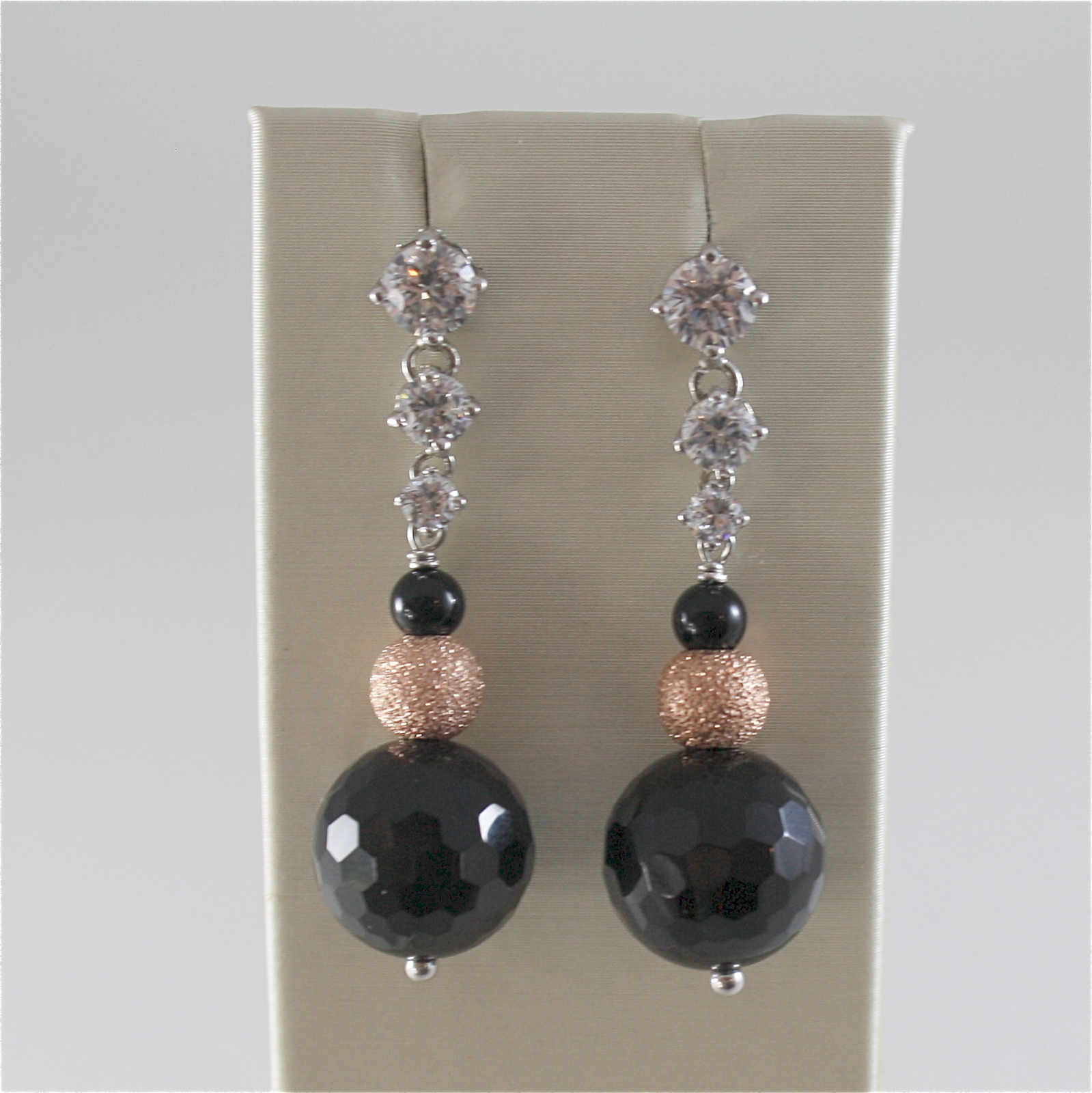 925 RODIUM SILVER EARRINGS WITH BLACK FACETED ONYX WHITE CRYSTALS, MADE IN ITALY