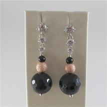 925 RODIUM SILVER EARRINGS WITH BLACK FACETED ONYX WHITE CRYSTALS, MADE IN ITALY image 1