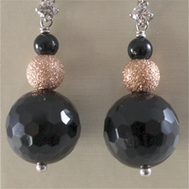 925 RODIUM SILVER EARRINGS WITH BLACK FACETED ONYX WHITE CRYSTALS, MADE IN ITALY image 3