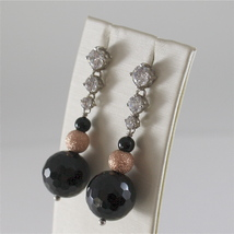 925 RODIUM SILVER EARRINGS WITH BLACK FACETED ONYX WHITE CRYSTALS, MADE IN ITALY image 2