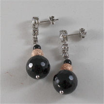 925 RODIUM SILVER EARRINGS WITH BLACK FACETED ONYX WHITE CRYSTALS, MADE IN ITALY image 4