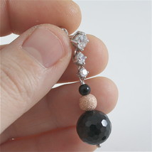 925 RODIUM SILVER EARRINGS WITH BLACK FACETED ONYX WHITE CRYSTALS, MADE IN ITALY image 5