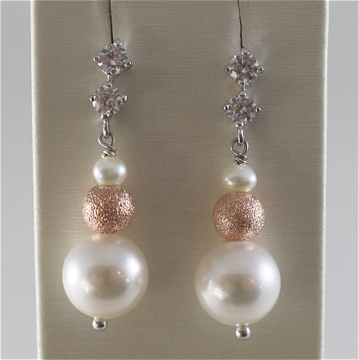 925 RODIUM SILVER EARRINGS WITH FW & SYNTHETIC PEARLS AND CRISTALS MADE IN ITALY