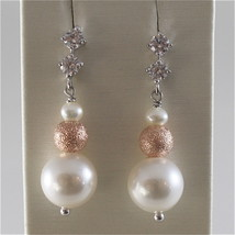 925 RODIUM SILVER EARRINGS WITH FW & SYNTHETIC PEARLS AND CRISTALS MADE IN ITALY image 1