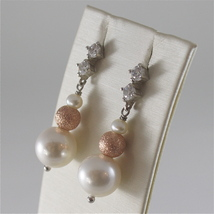 925 RODIUM SILVER EARRINGS WITH FW & SYNTHETIC PEARLS AND CRISTALS MADE IN ITALY image 2