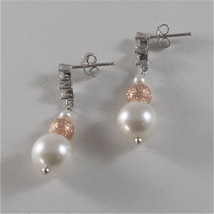 925 RODIUM SILVER EARRINGS WITH FW & SYNTHETIC PEARLS AND CRISTALS MADE IN ITALY image 3