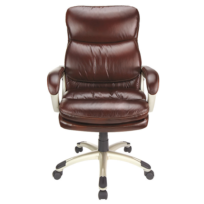 Realspace Broward Faux Leather High Back Chair Brown Silver 199865 Chairs
