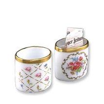 DOLLHOUSE Waste Basket Pair Reutter Dresden Rose & Crosshatch 1.856/5 Miniature - $15.51