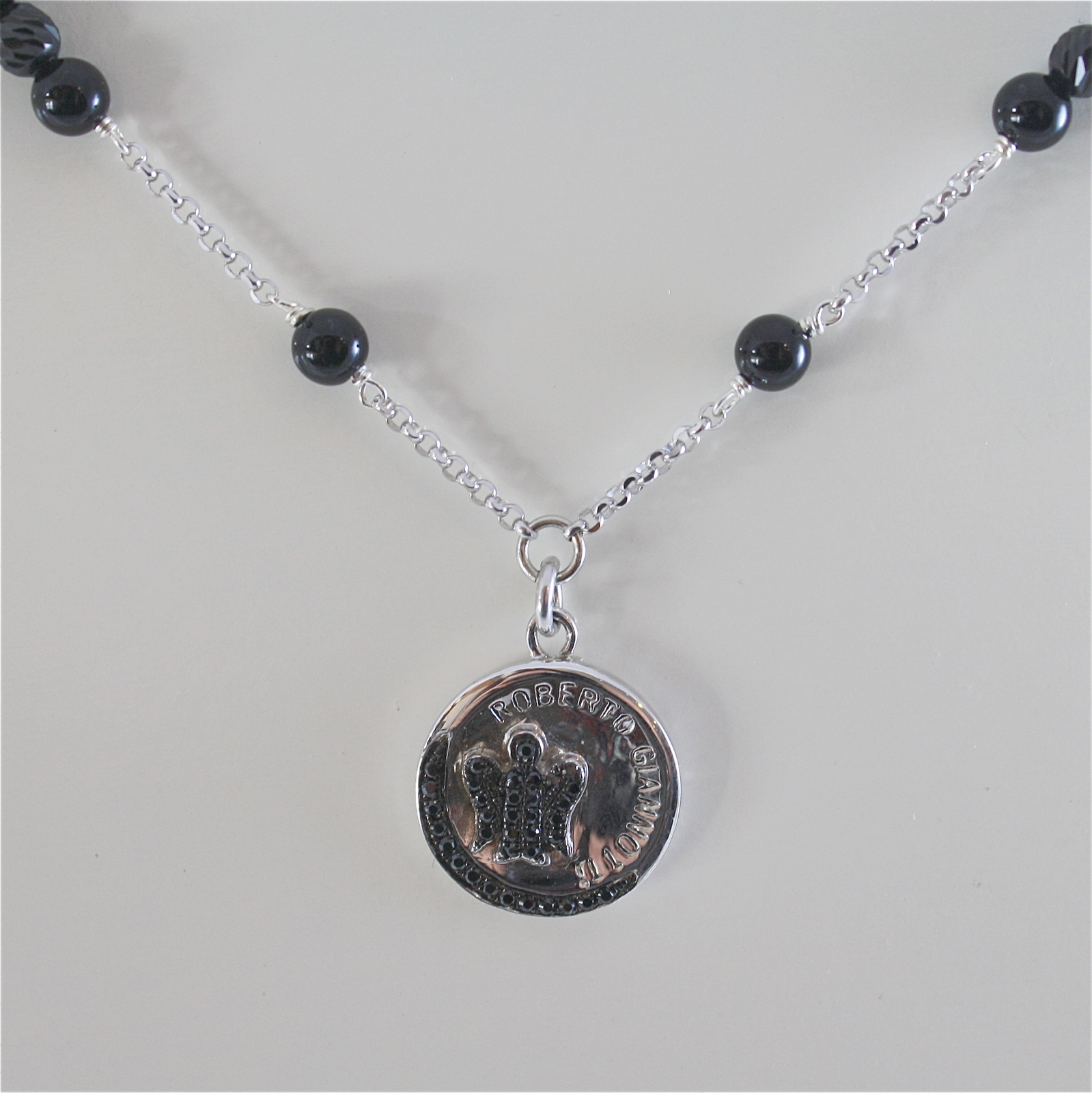 925 RODIUM SILVER NECKLACE WITH BLACK ONYX AND ANGEL PENDANT, MADE IN ITALY