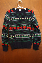 Vintage Navy Blue & Strawberries Girls Sweater - Size Small - $18.99