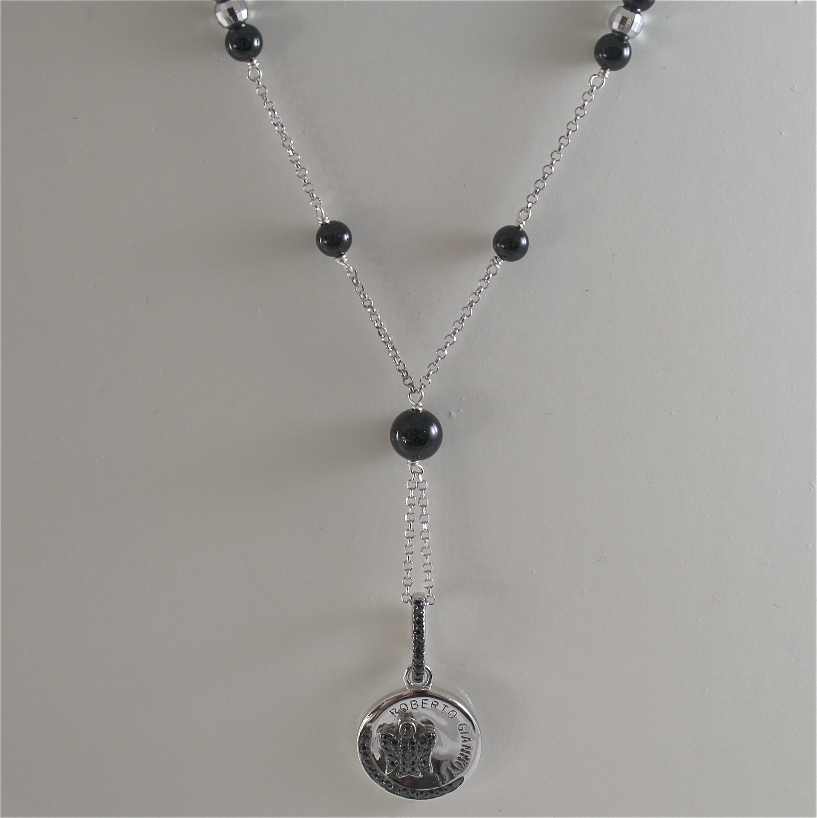 925 RODIUM SILVER NECKLACE WITH BLACK ONYX AND ANGEL WITH CRYSTAL, MADE IN ITALY