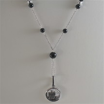 925 RODIUM SILVER NECKLACE WITH BLACK ONYX AND ANGEL WITH CRYSTAL, MADE IN ITALY image 1