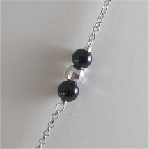 925 RODIUM SILVER NECKLACE WITH BLACK ONYX AND ANGEL WITH CRYSTAL, MADE IN ITALY image 4