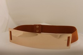 Women Elastic Belt Light Brown High Waist Hip Gold Metal Plate Fashion S... - $21.55