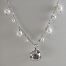 925 RODIUM SILVER NECKLACE WITH PEARLS AND BALL WITH ANGEL CHARMS, MADE IN ITALY image 2