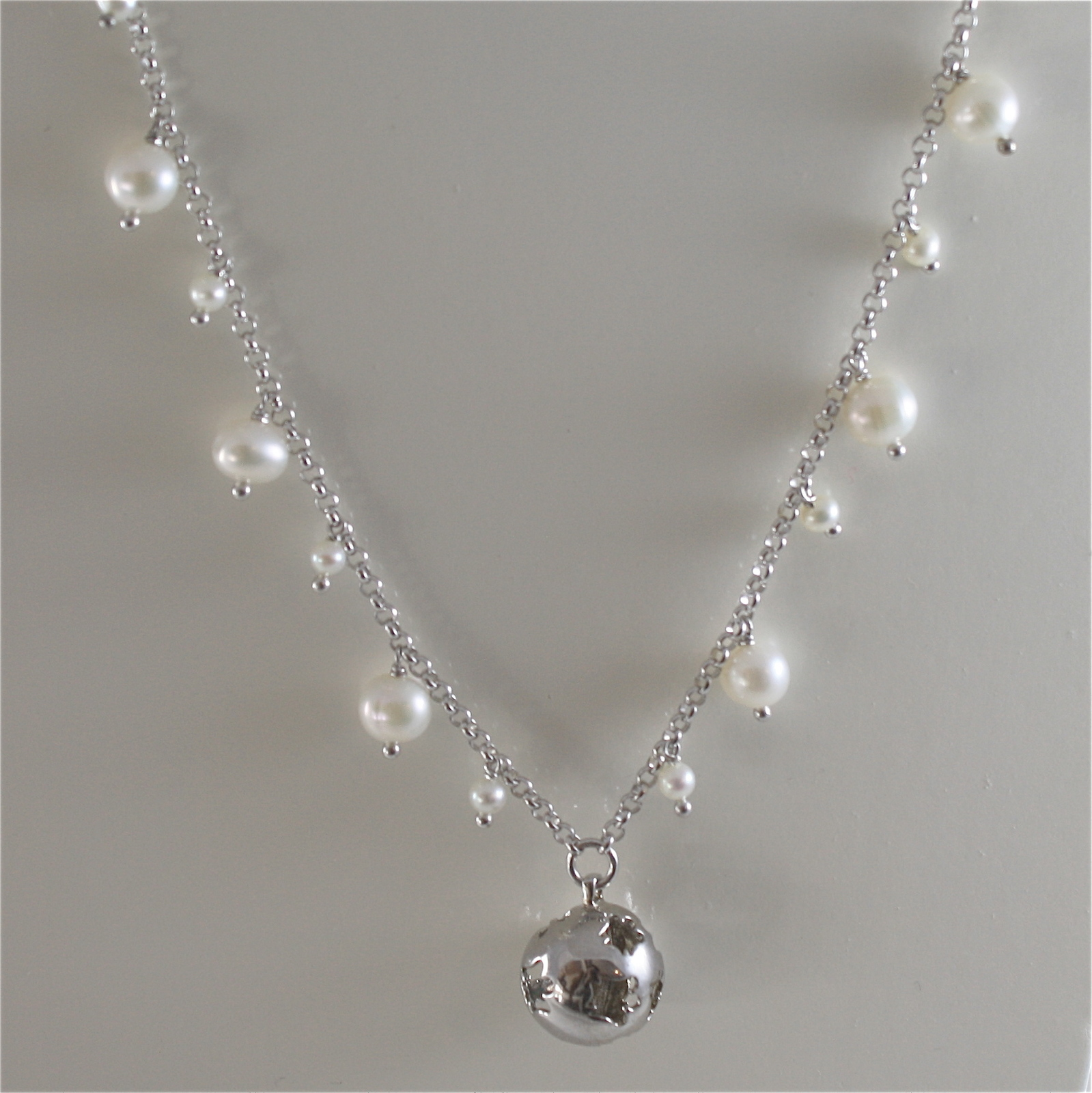 925 RODIUM SILVER NECKLACE WITH PEARLS AND BALL WITH ANGEL CHARMS, MADE IN ITALY