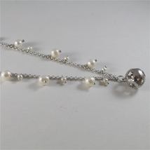 925 RODIUM SILVER NECKLACE WITH PEARLS AND BALL WITH ANGEL CHARMS, MADE IN ITALY image 3