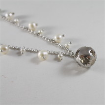 925 RODIUM SILVER NECKLACE WITH PEARLS AND BALL WITH ANGEL CHARMS, MADE IN ITALY image 4