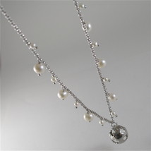 925 RODIUM SILVER NECKLACE WITH PEARLS AND BALL WITH ANGEL CHARMS, MADE IN ITALY image 5