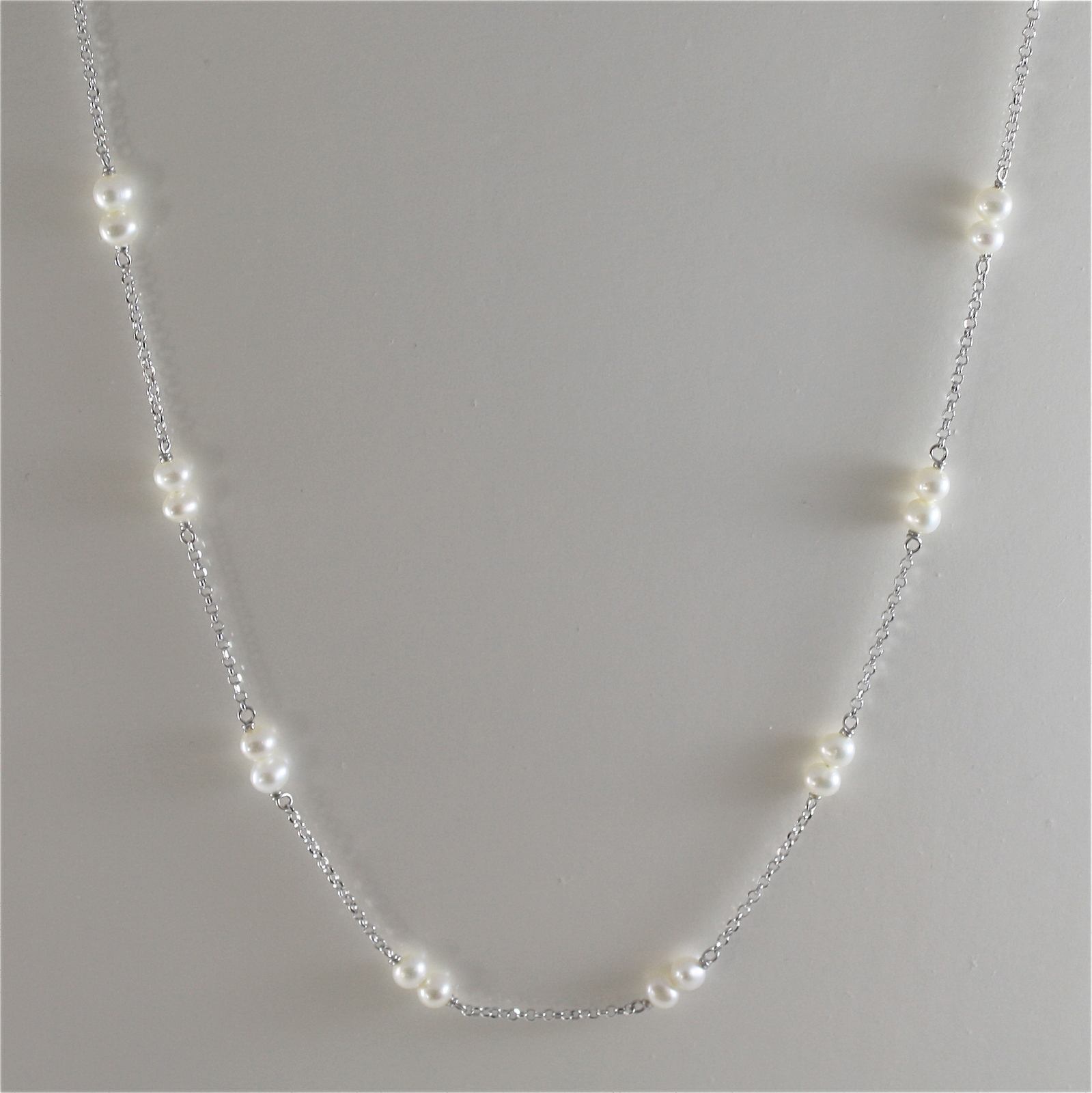 925 RODIUM SILVER NECKLACE WITH WHITE FRESHWATER PEARLS, 17.72 IN, MADE IN ITALY