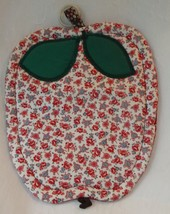 handcrafted apple potholder new applique reversible red white calico 7 x 8 - $8.00