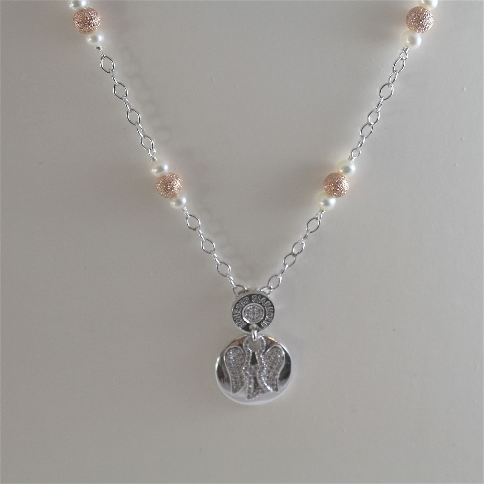 925 RODIUM SILVER NECKLACE WITH WHITE FW PEARLS AND ANGEL PENDANT, MADE IN ITALY