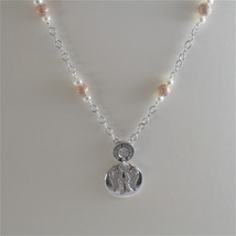 925 RODIUM SILVER NECKLACE WITH WHITE FW PEARLS AND ANGEL PENDANT, MADE IN ITALY image 1