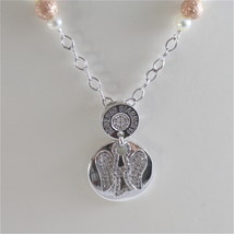 925 RODIUM SILVER NECKLACE WITH WHITE FW PEARLS AND ANGEL PENDANT, MADE IN ITALY image 2