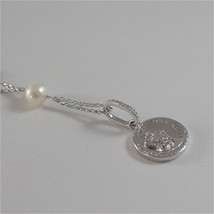 925 RODIUM SILVER NECKLACE WITH WHITE FW PEARLS AND ANGEL PENDANT, MADE IN ITALY image 3