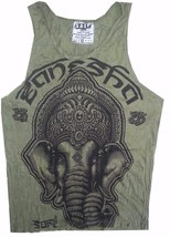 COTTON Yoga Men top sleeveless green animal Buddha Ganesha Lotus India OM M Sure - $12.86