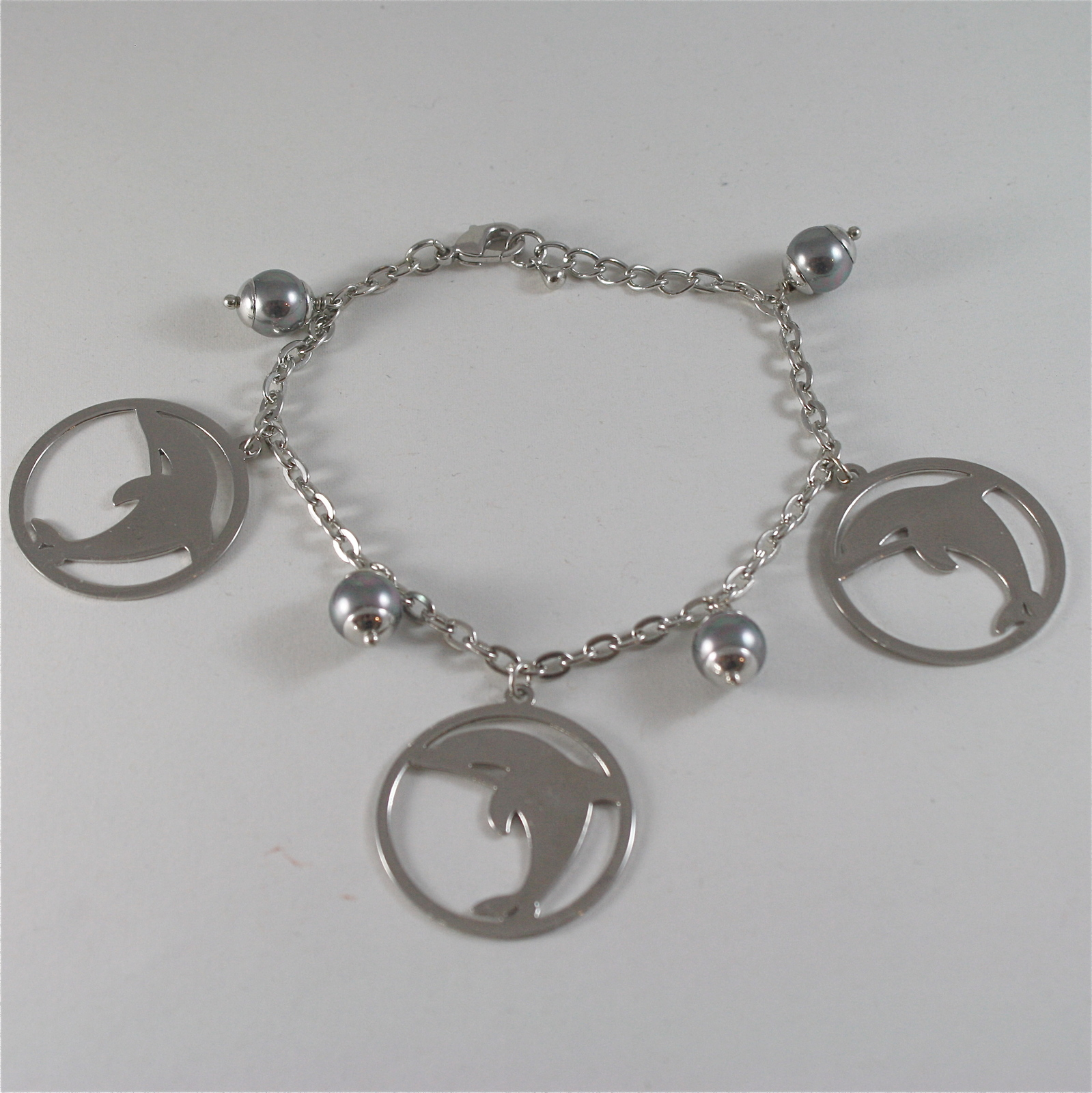 STAINLESS STEEL BRACELET WITH GREY SYNTHETIC PEARLS AND DOLPHIN CHARMS, 7.48 IN