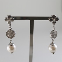 STAINLESS STEEL EARRINGS WITH WHITE SYNTHETIC PEARLS AND CRYSTALS 1.57 IN LONG image 1