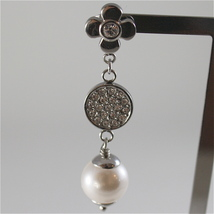 STAINLESS STEEL EARRINGS WITH WHITE SYNTHETIC PEARLS AND CRYSTALS 1.57 IN LONG image 2