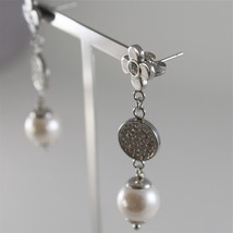 STAINLESS STEEL EARRINGS WITH WHITE SYNTHETIC PEARLS AND CRYSTALS 1.57 IN LONG image 3