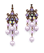 Beautiful Violet Swarovski crystal chandelier dangle pierced earrings - $22.00