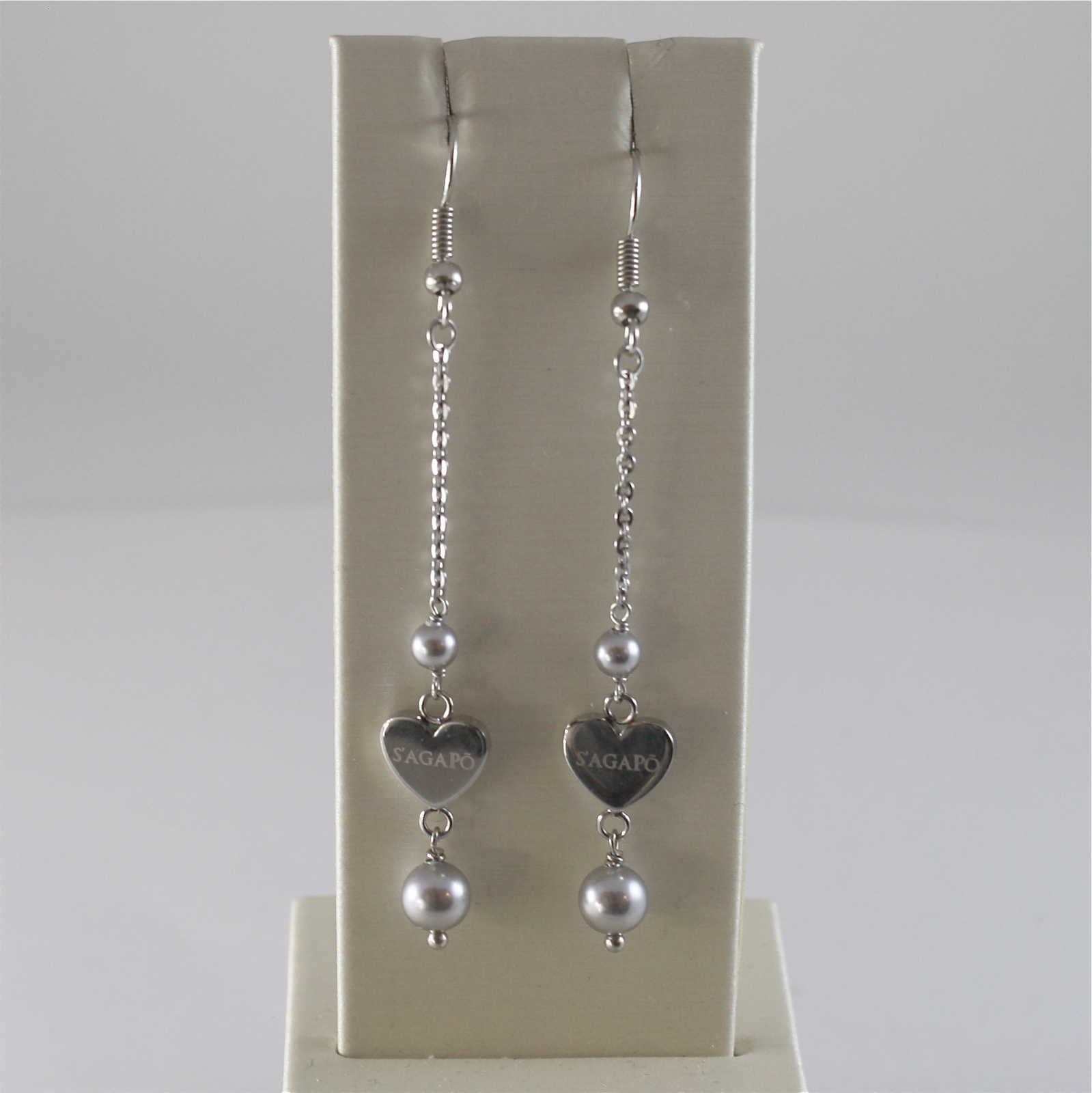 STAINLESS STEEL HOOK EARRINGS WITH GREY PEARLS AND HEART CHARMS, 2.75 IN LONG