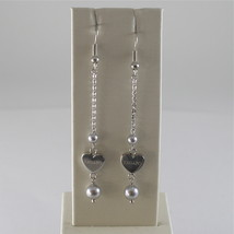 STAINLESS STEEL HOOK EARRINGS WITH GREY PEARLS AND HEART CHARMS, 2.75 IN LONG  image 1