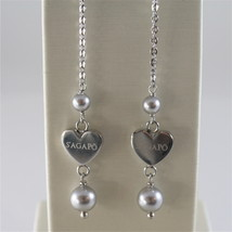 STAINLESS STEEL HOOK EARRINGS WITH GREY PEARLS AND HEART CHARMS, 2.75 IN LONG  image 2