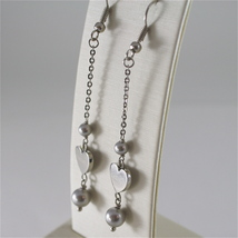 STAINLESS STEEL HOOK EARRINGS WITH GREY PEARLS AND HEART CHARMS, 2.75 IN LONG  image 3