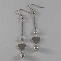 STAINLESS STEEL HOOK EARRINGS WITH GREY PEARLS AND HEART CHARMS, 2.75 IN LONG  image 4