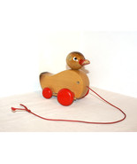Wooden Duck - vintage wooden pull toy Red colour, Shabby chic home decor... - $17.00